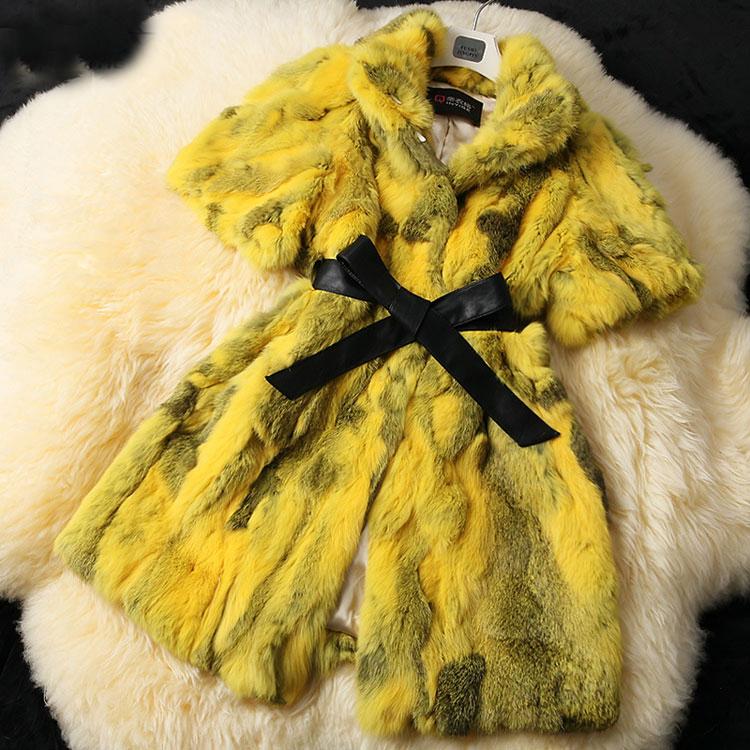 2014 Lady Natural Piece Rabbit Fur Coat Jackets Genuine Winter Women Fur Outerwear Coats Apparel Overcoat QD70601(China (Mainland))