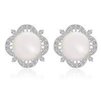 vintage shell pearl clover rhinestone stud earring statement earring for women korean jewelry accessories silver earrings M605