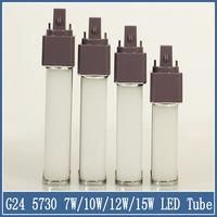 1x G24 SMD 5730 LED Tube Bulb 7W/10W/12W/15W Ceiling Light AC 110V 220V  Home Lighting Downlight Crystal 85-265V Corn Lamp