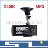 X3000 New Dual Lens CAR DVR Camera 720p 140 Degree with GPS Logger HDMI,G-sensor IR LED Night Vision, Free shipping