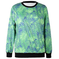 New 2014 Fashion spring autumn Women 3D Print green leaves pattern Sweatshirts Casual Pullover Harajuku Hoodies streetwear WY-16