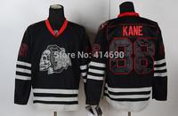 Free Shipping Cheap Chicago Blackhawks #88 Patrick Kane Authentic Black Skull Hockey Jersey Wholesale Mix Order