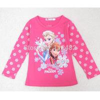 Snow princess Autumn winter baby long sleeve t shirt cartoon FROZEN snowman printing T-shirts kids wear