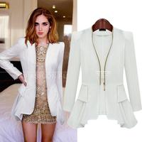 D2 New Women Autumn plus size S-XL Zipper stylish comfortable chiffon Blends Cloth jacket coat Slim small suit outwear jacket