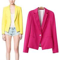 2014 New Elegant Women Office Lady OL Jacket Long Sleeve Suit Blazer feminino Coat Lapel One Button Outerwear 3 Colors Plus Size