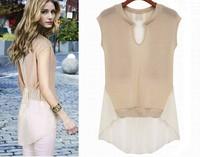 2014 New Spring Summer Loose Trendy Elegant Sleeveless V-neck Shirt Translucent Hem Chiffon Unlined Upper Garment Blouse Y399