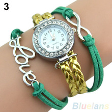 Antique Silver Infinity Love Charm Bracelet Bangle Watch Leather Crystal Watch 07PF