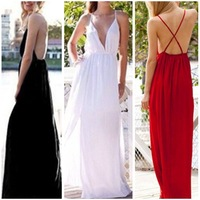 2015 sexy deep V back cross perspective female nightclubs installed a long paragraph and bandage dress ZE3159