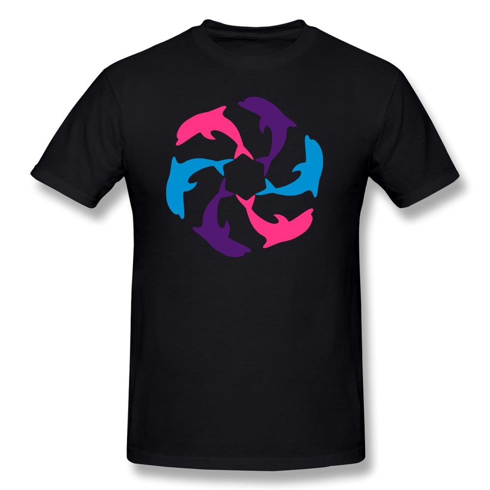Designed 100% Cotton Men T Shirt Dolphin Circle Cool Business Men T Shirts Regular Style(China (Mainland))