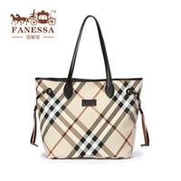 2014 classics british style plaid women's shoulder bag PVC + genuine leather ladies handbag big female tote bag  check handbag
