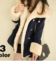 Free Shipping 2014 Winter Warm Coats Women Wool Slim Double Breasted Wool Coat Winter Jacket Women Fur Women's Coat Jackets New