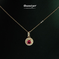 Fashion 18K Rose Gold Plated Cubic Zircon Ruby Stone Round Pendant Necklace Women Collarbone Necklaces Beautyer Jewelry BXL57