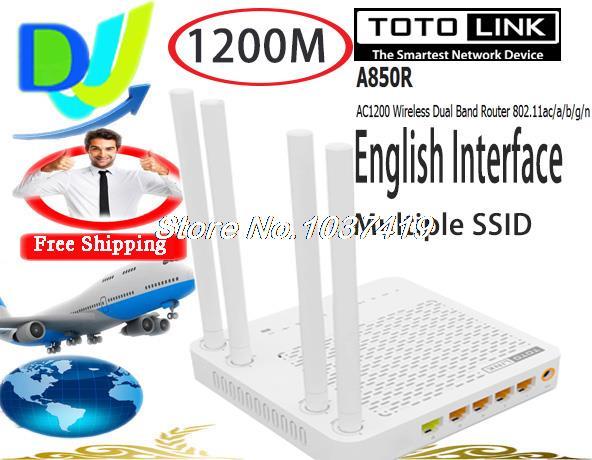 Маршрутизатор TOTOLINK A850R 1200Mpbs smart AC 802.11AC wifi /4 * 5 totolink a850r 1200mbps двухдиапазонный беспроводной маршрутизатор gigabit router