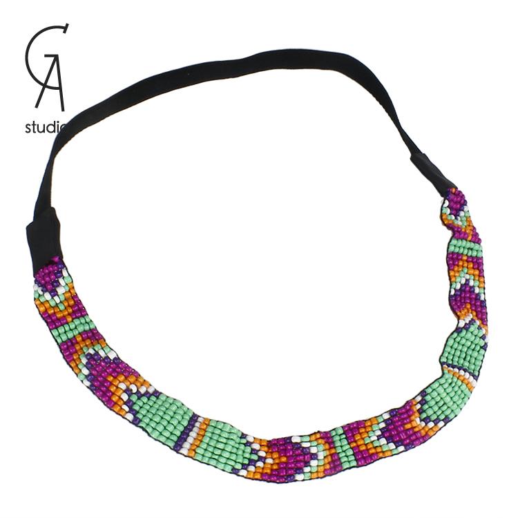 Free Shipping Girls headband Beads handmade hairband with colorful beads elastic belt hairbands for women(China (Mainland))