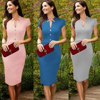 Promotion! High Street Women Celebrity Pencil Slim Dress V Neck Cap Sleeves Knee-Length Work OL bodycon Dress women work wear