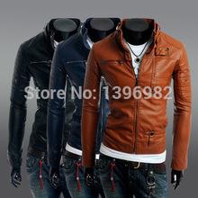 2015 Short Leather Jacket men  Slim Korean motorcycle Men Leather jacket(China (Mainland))