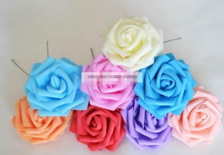 Novos 100 unidades Prom PU espuma 8 CM Decoração do casamento DIY com haste Artificial Cabeça Rose Flor Roxo Rosa Azul Creme Vermelho(China (Mainland))