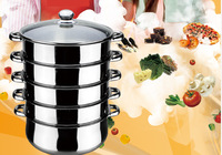 FREE SHIPPING stainless steel steamer pot 5 layer glass cover 40cm cooking pot can be induction bottom
