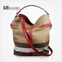 SHUBO Brand Bags 2014 Fashion Genuine Leather Bags Canvas Women Plaid Handbags Totes 5 Colors Shoulder Bag Bucket Bag SH002