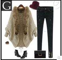 Fashion women's 2014 medium-long cape sweater female cardigan loose batwing sweater shirt outerwear