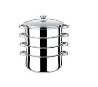 FREE SHIPPING stainless steel steamer pot 4 layer glass cover 30cm cooking pot can be induction bottom