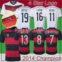 GERMANY 4 Stars Trikot with 2014 Golden Winner Patch White BRD-GER 2014 World Cup Champion Jersey GOTZE KLOSE LAHM MULLER Fans