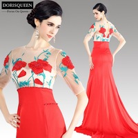 Free shipping 31149new arrival beaded dorisqueen sexy long Chiffon embroidery beaded floor length red sexy long prom dress 2015