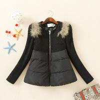 Korean 2014 New Women's Fur Woolen Splicing Long Sleeved Coat, Fashion All Match Woollen Coat for Female Ladies,Fur Collar Coat