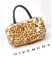 GO FASHION Cute Imitation Rabbit Fur Shoulder Messenger Bag Birthday Gift Leopard Handbag