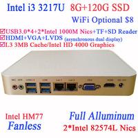 Fanless PC Station with Intel I3 3217U Dual Intel 82574L Nics TF SD Card Reader HDMI VGA PXE WOL 8G RAM 120G SSD WIN7 WIN8 OS
