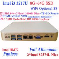 Small Desktop PC with Intel I3 3217U Dual Intel 82574L Nics TF SD Card Reader HDMI VGA PXE WOL 8G RAM 64G SSD WIN7 WIN8 OS