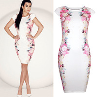 New 2014 Autumn Summer Hot Celeb Work Wear OL Floral Print Pencil Dress Short O-neck Club Party Bandage Dresses 5879