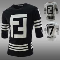 High quality! free shipping 2014  new o-neck men's three quarter sleeve T-shirt men casual slim thickening Baseball uniforms