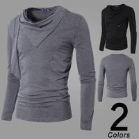 Free shipping 2014 hot sale new big turn-down colllar men's long sleeve T-shirt casual slim pure color t-shirt men, high quality