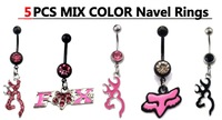 Anillos ombligo Cute Jewelry 14G 316L 5pcs Browning Deer Navel Belly Rings anneaux nombril