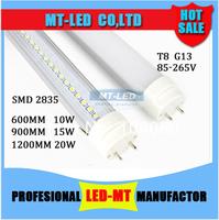 X200pcs FEDEX Free shipping LED Tube Light T8 600mm 10W 900mm 15W 1200mm 20W SMD 2835 96 leds 1500lm lamp bulb  lighting