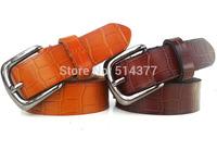 fashion crocodile leather belts hollow Belt Buckle quality women's solid belt