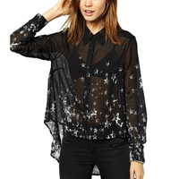 Womens Oversize Long Sleeve Casual Blouses Button Down Shirts Stunning Star Print Stepped Hem