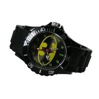 DC Super Hero Batman Logo Fashion Boy Man Metal Black Silicone Watch Wrist