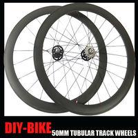 50mm tubular carbon fiber single speed fixed gear track wheels flip flop track wheels free wheel Novatec 165/166 track hub