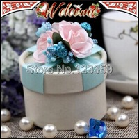 80PCS Free Fedex Cylindrical Candy Box Pink Flower With Sky Blue Ribbon Wedding box Wedding party Wedding favors and gifts box