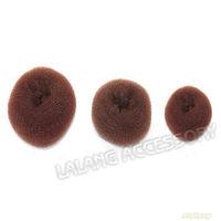 New Arrival Big Size Coffee Hair Bun Ring 3pcs/lot Nylon Net Bud Head Shape Maker Twist Tool Hair Decoration 9cm ej300007