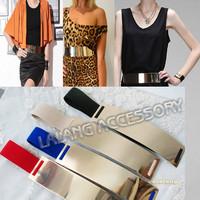 1PC Fashion New Design gold metal mirror face wide belt for women ,Belt Elastic Cummerbund ,fashion Apparel Accessories ej671151