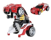 F070104 -E502-001 360-Degress Rotatable Transforming Car Toy with Music, Light (Red)