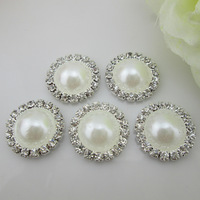 (FL422) 20 X Fabulous White Pearl Rhinestone Button Flatback For Head Flower Center