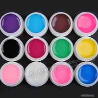 1set Wholesale 12Colors Nail Art Decoration UV Gel Nail Art Use Free  Shipping ej600250