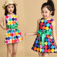 Princess 2014 Summer baby girls Dancing Clothing Princess Children Dress Colored Dots Chiffon Dess Wholesale