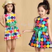 Princess 2014 Summer baby girls Dancing Clothing Princess Children Dress Colored Dots Chiffon Dess Wholesale