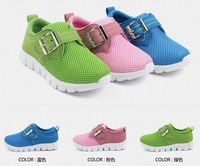 Breathable boy sneakers new during the spring and autumn  contracted buckles slip-on sneakers net yarn casual shoes of the girls