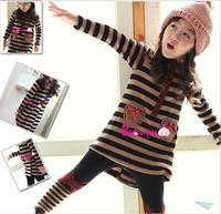 Retail Girls' Sets Long Sleeves Children Hoodies Striped Bow Clothing Kids Warm Suit  Long T-shirt+leggings 2pcs/set AB284